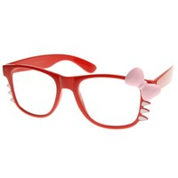 zeroUV - Womens Retro Fashion Kitty Clear Lens Glasses w/ Bow and Whiskers (Red Pink-Bow)