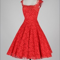 Vintage 1950's Peggy Hunt Cherry Red Lace Dress