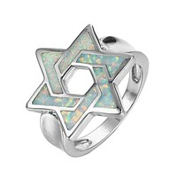 Star of David Ring Cool Opal Stone
