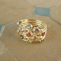 Multi Stone Gold Ring - Colorful Stone Ring - 14k Gold Plated Mix Stones Vintage Ring