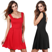Sleeveless Backless Square Collar Pleated Dress