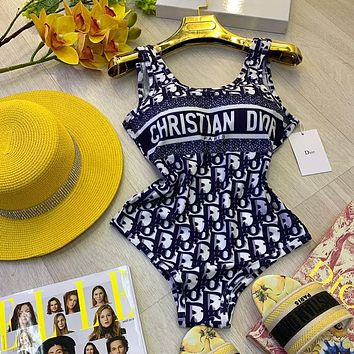 shosouvenir Dior Women printed One Piece Swimsuit Bikini