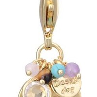 Gold Initial and Gemstone Bead Charms for Dog Collars
