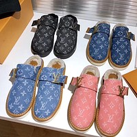 LV Louis Vuitton new couple style printed letter Baotou plush slippers flip flop