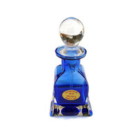 Lavorazione, Perfume Bottle, Cobalt Blue, Made in Italy, Arte Murano, Italian Glass, Vintage Vanity, Bathroom Accessories