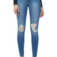 Good American Good Waist Raw Edge Skinny Jeans (Blue 092) (Extended Sizes) | Nordstrom