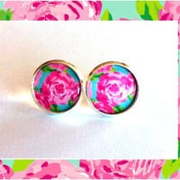 CHOOSE YOUR PATTERN - Personalized Lilly Pulitzer Inspired Stud Earrings