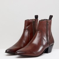 ASOS DESIGN stacked heel western boots With in brown leather at asos.com