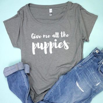 Give Me All The Puppies Women's Scoop Neck Top