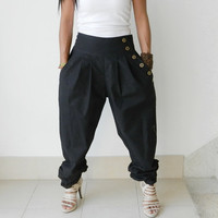 Ladies EMO Long PantsRuffle Leg  Organic Cotton Black by thaisaket