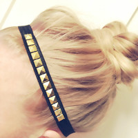 Studded Gold or Silver Elastic No Kink Headband Choose Colors Girly Workout Rock Hipster DOLLAR SHIP in US