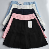 summer American School Style Fashion Women elegant half Pleated mini Skirts high waist casual girls skirts women leggings skirt-in Skirts from Women's Clothing & Accessories on Aliexpress.com | Alibaba Group