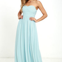 All Afloat Mint Blue Strapless Maxi Dress