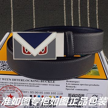 Fendi Women's  Men's Fashion Smooth Buckle Belt Leather Belt Monogram Leather Belt
