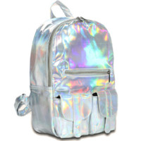 Silver Holographic Backpack