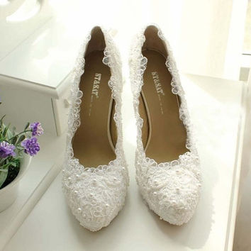 White Lace High Heels Lace Wedding Shoes From Jojoangelly On Etsy