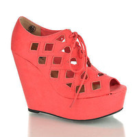 Resist Perforated Cut-Out Platform Wedge Pump Laced Up Women Shoe