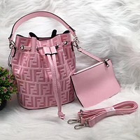FENDI Trending Women Leather Handbag Crossbody Satchel Shoulder Bag Clutch Bag Set Two Piece Pink
