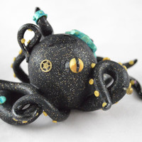Steampunk Octopus, Clay Figurine, Octopus Art, OOAK Octopus, OOAK Steampunk Art, Tentacle, Polymer Clay Octopus