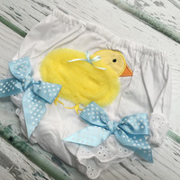 Baby Girls Easter Outfit, Easter Day Wear, Baby Girl Clothing, Baby Girl Diaper Cover, Holiday Apparel, Chiffon 3-D Duck, Baby Diaper Cover