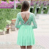 Amazon.com: Lowpricenice Lowpricenice Women Hollow Lace Flower Backless Sexy Party Dress