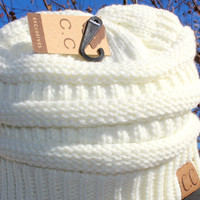 Thick Knit Ivory Beanie