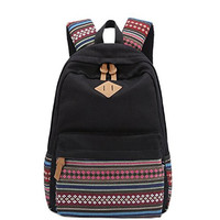 Fashion Bohemian Style Canvas Laptop Backpack Rucksack Double-Shoulder Bag Travel Bag (Black) = 1928600004