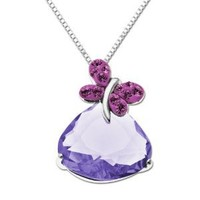 """Sterling Silver with Swarovski Elements Butterfly Pendant Necklace, 18"""""""