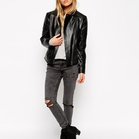 ASOS Leather Biker Jacket With Multi Quilted Detail