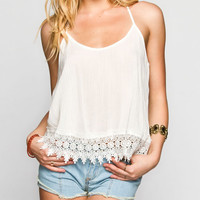 Full Tilt Crochet Sweep Womens T-Back Tank White  In Sizes