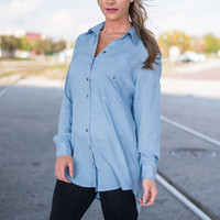 Just Swing With It Button Down Top, Blue