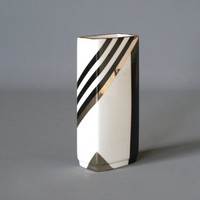 GEROLD KUEPS Block Vase, Black White and Gold Porcelain Vase, German Post Modern Vase, Hand Made in Germany, Bavarian Vase