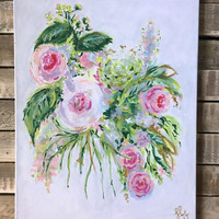 Pink, green, and white abstract floral painting