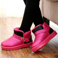 New Boys Girls PU Leather Winter Ankle Snow Boot Fashion Casual Snow Boot Children Kids Flats Shoes Children Footwear Toddlers