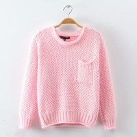 Long-Sleeve Knitted Sweater With Pocket