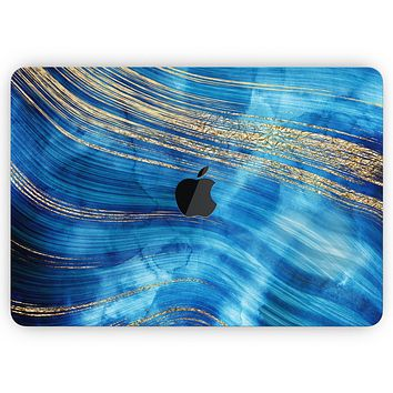 """Vivid Agate Vein Slice Blue V1 - Skin Decal Wrap Kit Compatible with the Apple MacBook Pro, Pro with Touch Bar or Air (11"""", 12"""", 13"""", 15"""" & 16"""" - All Versions Available)"""