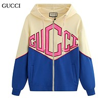 GUCCI New fashion embroidery letter women hooded long sleeve sweater coat