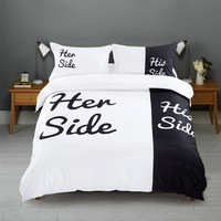 wholes Black&white Her Side His Side bedding sets Queen/King Size double bed 4pcs Beding Couples Duvet Cover Set bedspread