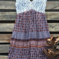 cap sleeve print dress with empire waist and tie back
