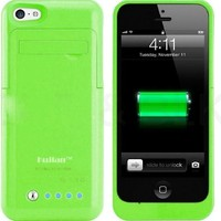 Kujian iPhone 5 Battery Charger Case Portable External Charger with 4 LED Lights Built-in Kickstand for Apple iPhone 5s/5/5c/SE (iOS 8 or above Compatible)-Green