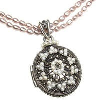 Etched Locket Cultured Seed Pearl Sterling Silver Necklace w. Lavender Cultured Pearl Chain