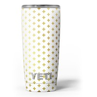 The Gold Mirco Cross Pattern - Skin Decal Vinyl Wrap Kit compatible with the Yeti Rambler Cooler Tumbler Cups