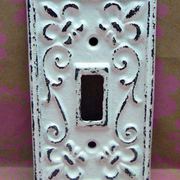 Fleur de lis Cast Iron Light Switch Plate Cover Single Wall Shabby Chic Distressed Rustic French Decor White White