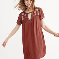 Womens Embroidered Swing Dress | Womens Dresses & Rompers | Abercrombie.com