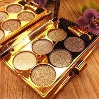 6Colors Flash Diamond Eyeshadow Nude Makeup Pallete Waterproof Luminous Glitter Cosmetics Eye Makeup Tools 6606 Eyeshadow