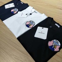 """Moncler"" Unisex Casual Simple Embroidery Logo Couple Short Sleeve Cotton T-shirt Top Tee"