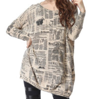 Women's Knit Pullover Dress Onesize Baggy Newspaper Design  Clothing