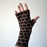 Brown Fingerless Gloves - Coffee Brown Gloves With Polca Dots - Christmas Gift For Her - Trending Items - Knit Fingerless Gloves nO 99.