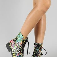 Qupid Missile-04 Floral Print Round Toe Lace Up Bootie