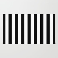 Black and White Stripes Rug by Laura Ruth